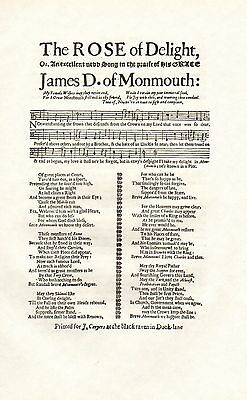 C1900 Imprimé ~ Neuf Song In Praise Of His Grace The Duke Of Monmouth Musique