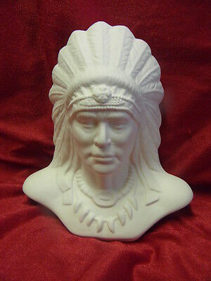 Ceramic Bisque Ready to Paint Native American Indian Chief 15cm tall