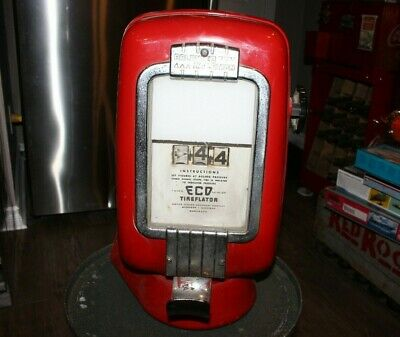 Vintage Eco Tireflator Air Meter Model 97 Red Chrome Wall Mount Gas Station Pump