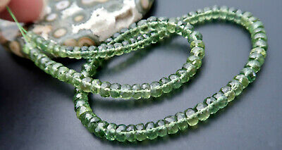104 RARE BEAUTIFUL AAAAA FACETED 4-5mm GREEN GEM APATITE BEADS 55.6cts 11.4""