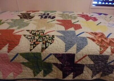 """VINTAGE HANDSTITCHED MAPLE LEAF QUILT 84x64"""" BEAUTIFUL QUILTING~GIFT QUALITY!"""