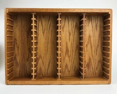 48 Slot Vintage Cassette Tape Rack / Storage Case Wood Holder
