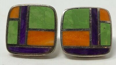 Signed PB  Vintage Native American Sterling Silver Inlaid Stone pierced Earrings