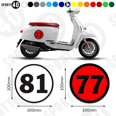 Round Number Vinyl Decals / Stickers - 2 x 100mm - Racing, Scooter Car 3226-0219