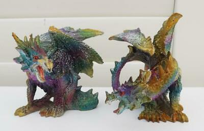 2 x 8cm  DRAGON FIGURINE STATUE BRIGHT COLORS SPARKLES  POLY-RESIN FREE POST