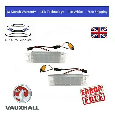 2x LED License Number Plate Light Bulb Vauxhall Opel Adam Astra H J Corsa C D E