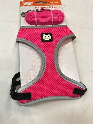 Cat Harness And Lead Set One Size Feline Apparel Clothing Pink Mesh