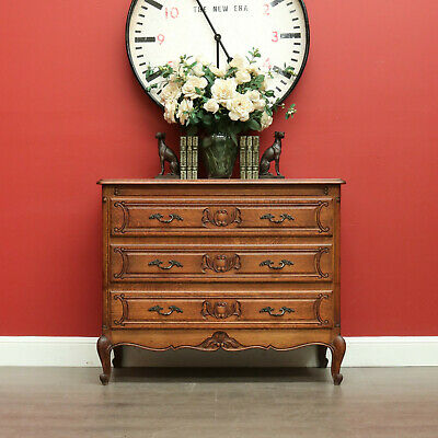 3 Drawer Antique French Oak and Iron Handle Chest of Drawers Hall Cabinet