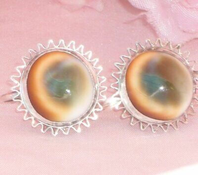 Unique ** LARGE ANTIQUE EDWARDIAN STERLING SILVER OPERCULUM CATS EYE EARRINGS