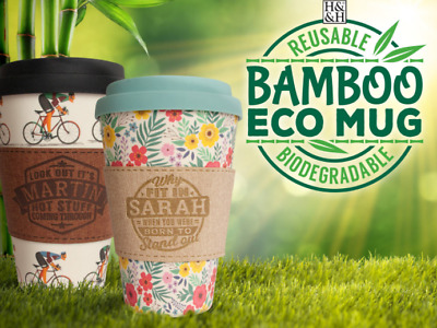 H&H Bamboo Eco Reusable Mugs 9 designs with 150+ choices of Personalized Sleeve