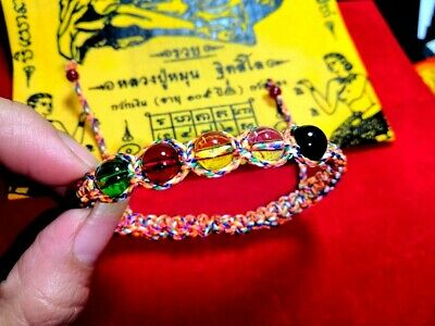 Bracelet Naga Eye Gems Braided Rope Thai Lucky Amulet Protect Charm Love Wealth