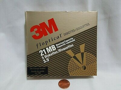 "NEW 3M Floptical 21 MB 3.5"" Computer Disks SEALED Box of 5 Rare 21MB Diskettes"