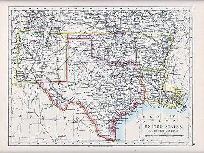 1912 Landkarte ~ Vereinigte Staaten ~ South West Central Texas New Mexico