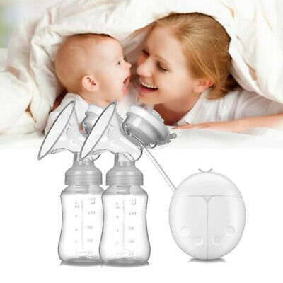 Hot Double Electric Breast Pump With Milk Bottle Baby Infant USB Powerful Pumps