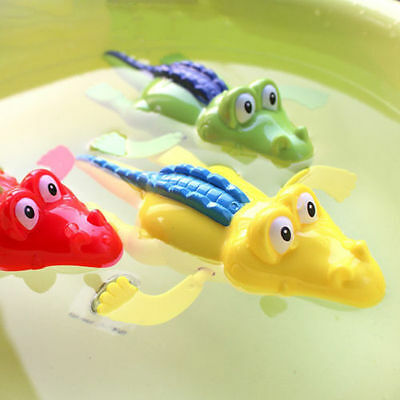 2X Wind Up Clockwork Cute Crocodile Kid Baby Swimming Favor Bath Time Play To Jh