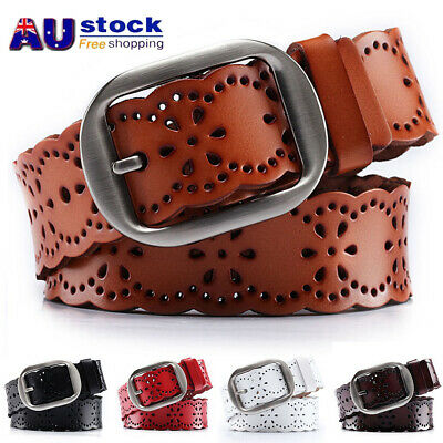 AU Womens Lady Hollow Flower Genuine Cowhide Leather Belt Alloy Buckle Waistband