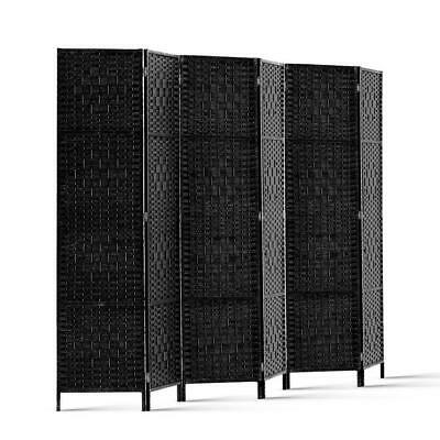Artiss 6 Panel Room Divider Privacy Screen Rattan Timber Frame Fold Woven Stand