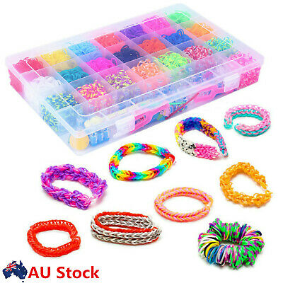 Colorful Rainbow Rubber Bands Refill Kit Box Loom Bands Large Storage Container