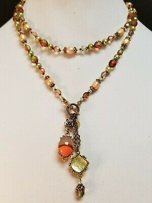 Robin Steele Studio Pearl Watermelon Crystal Toggle Intaglio Charm Necklace