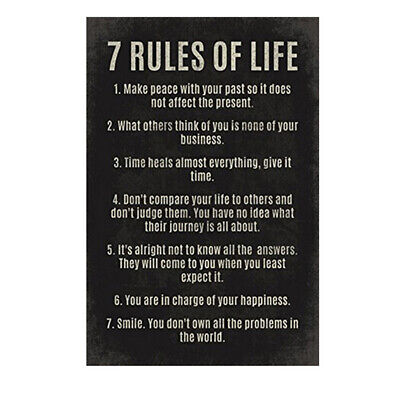 7 Rules Of Life Letters Motivational Poster Wall Art Home Decor 30*45cm Black