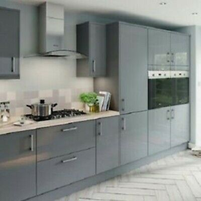 New Hygena Chancery Grey Gloss Kitchen Flat Pack- Orders over £700=Free Delivery