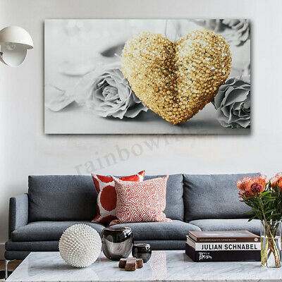 "Yellow 18""x32"" Heart Rose Canvas Prints Painting Pictures Wall Art Home Decor"