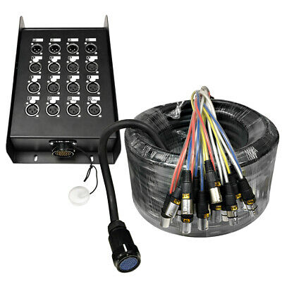 12 Channel, 100 Foot XLR Snake Cable with Multipin Easy Disconnect Trunk PA/DJ