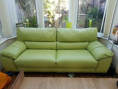 2 SEATER GREEN leather sofa - £66.00 | PicClick UK