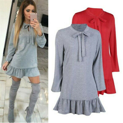 Women Long Sleeve A line Stand Collar Bow Decor Solid Color Mini Dress 8C