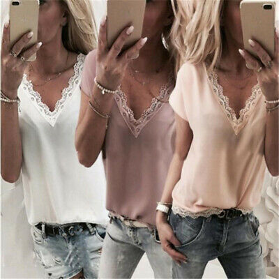 Womens Lace V-Neck Top Loose Camisole Tank Tops Casual Blouse T-Shirt 8C