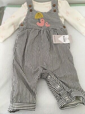 Baby Clothing- M&S Striped Cotton Dungaree Set, 0-3 Months