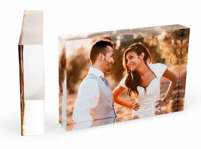 Photo Personalised Block Acrylic Gift Present Crystal Frame X Plaque Picture Day