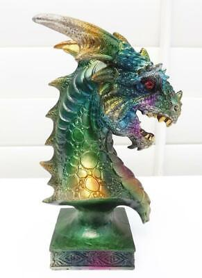 16cm  DRAGON HEAD on PEDESTAL B FIGURINE STATUE MULTI COLORS POLY-RESIN