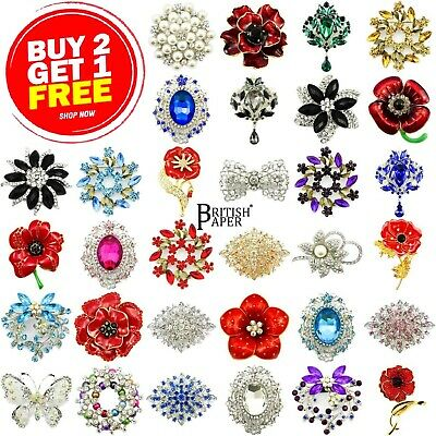 New Pin Brooch + Box Silver Gold Red Wedding Bridal Pearl Poppy Rose Lily Ladies