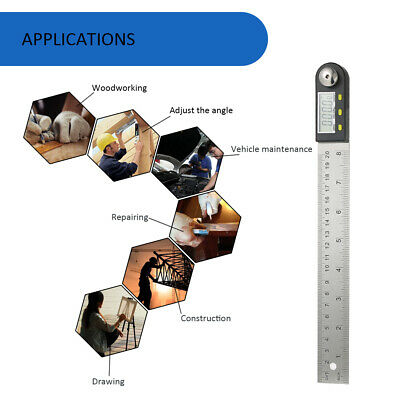 "Portable Digital Protractor Angle Finder 0-200mm/8"" Stainless Steel Ruler L8R2"