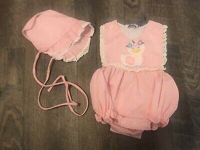 Vintage 1990s Easter Outfit Baby Girl Romper W/ Sun Hat Novelty Baby Chicken