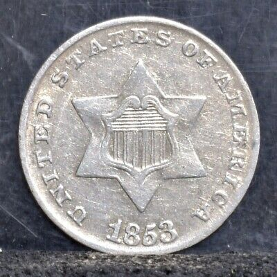 1853 Three Cent Silver 3CS - AU Details (#20387)