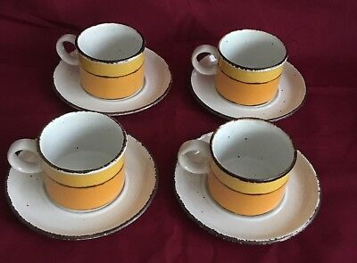 Vintage Wedgewood Stonehenge Midwinter Sun Set of 4 Cups and Saucers Excellent
