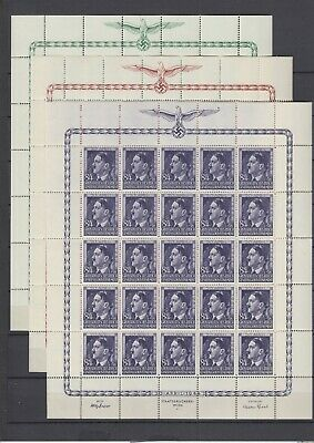 German Occup.Generalgouvernement Full Set of Sheets Mi 117/119 MNH