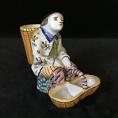 DESVRES Seated Man Salt Antique CHAS FRANCOIS FOURMAINTRAUX French Faience c1905