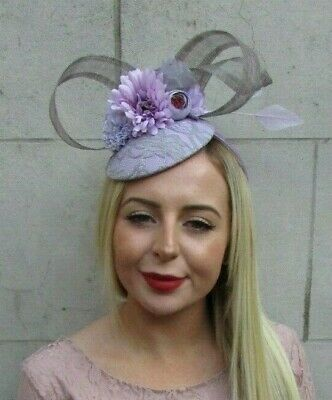 Lilac Light Purple Grey Flower Feather Hat Fascinator Races Hair Wedding 7113
