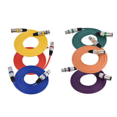 6Pack Colorful Amplifier Microphone Cable Cord XLR Male to Female 2m/6.6ft K5W3