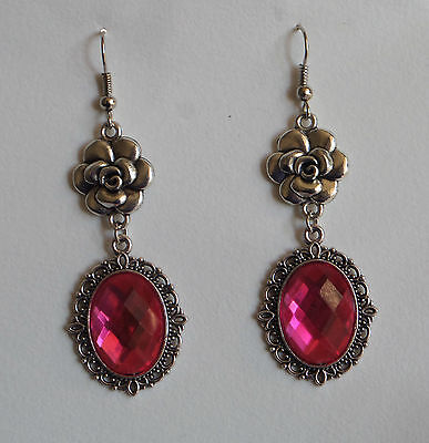 CAMELLIA FILIGREE VICTORIAN STYLE HOT PINK SILVER PLATED DROP EARRINGS CFE Hook