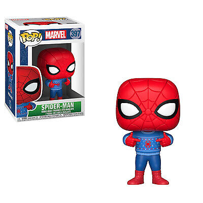 Funko Pop Marvel: Holiday - Spider-Man with Ugly Sweater Collectible Figure, Mul