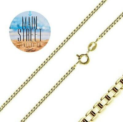14K Gold over 925 Solid Sterling Silver BOX Chain Necklace 1mm Different Lenghts