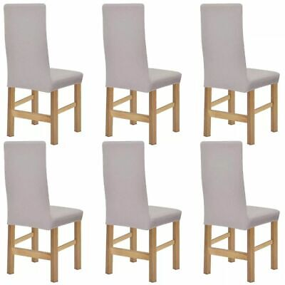 VidaXL Housse Protection De Chaise Polyester Tricote Extensible 6 Pcs Beige