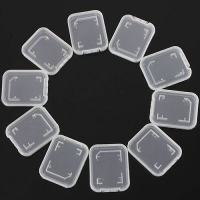 Standard Sd Sdhc Memory Card Case Holder Box Storage 10Pcs Stand Transparent Uk