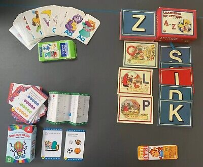 Lot of 4 learning Flash Cards SETS: LETTERS  , sounds ,math. PreK, K ,1st Grade