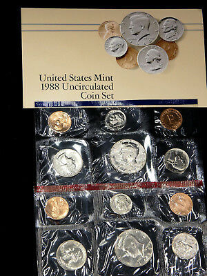 1988 P & D Mint Set, 10 coins in US Mint Packaging with COA  #401W
