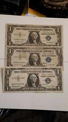 1957 US set of 3 Silver Certificates